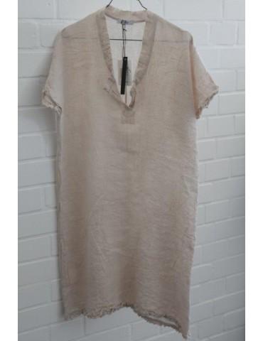 Damen Tunika Kleid 100% Leinen Linen beige Onesize ca. 36 - 40 Made in Italy