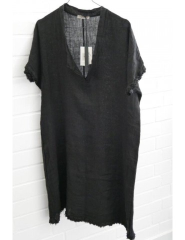 Damen Tunika Kleid 100% Leinen Linen schwarz black Onesize ca. 36 - 40 Made in Italy