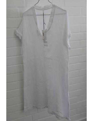 Damen Tunika Kleid 100% Leinen Linen weiß Onesize ca. 36 - 40 Made in Italy