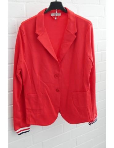 Esvivid Bequemer Sportlicher Jersey Blazer Buisness tailliert rot weiß dunkelblau Bündchen