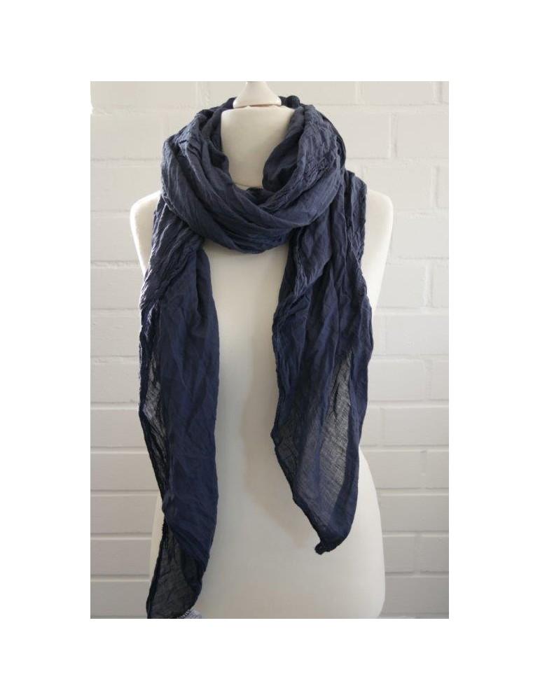 XXL Schal Tuch dunkelblau  marine 100% Baumwolle Asymmetrisch Blogger Style