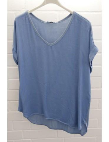 Damen Shirt kurzarm jeansblau blau uni Satin Viskose Seide Onesize ca. 36 - 42