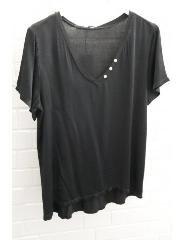 Damen Shirt kurzarm schwarz black uni Satin Viskose Seide Onesize ca. 36 - 42