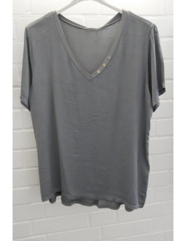 Damen Shirt kurzarm grau grey uni Satin Viskose Seide Onesize ca. 36 - 42