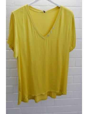 Damen Shirt kurzarm gelb kurkuma uni Satin Viskose Seide Onesize ca. 36 - 42
