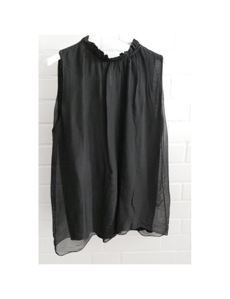 ESViViD Damen Bluse ärmellos schwarz black uni Seide Viskose Stehkragen Onesize