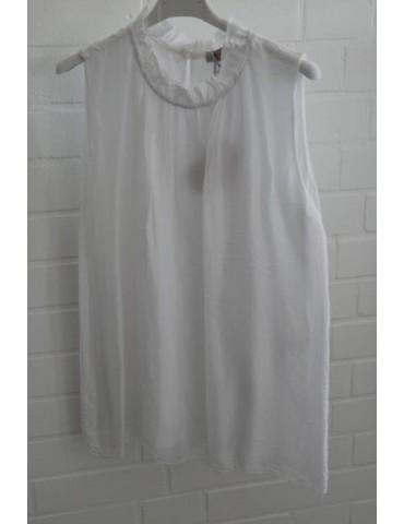 ESViViD Damen Bluse ärmellos weiß white uni Seide Viskose Stehkragen Onesize