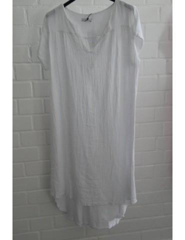 Xuna Damen Tunika Kleid Leinen Baumwolle weiß white Onesize ca. 36 - 42 Made in Italy