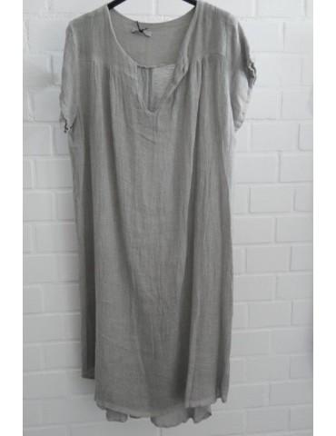 Xuna Damen Tunika Kleid Leinen Baumwolle hellgrau grau Onesize ca. 36 - 42 Made in Italy