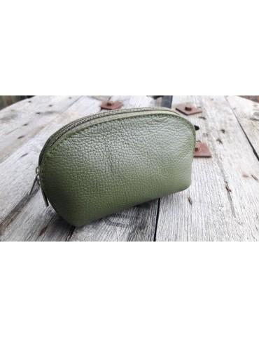 Kosmetiktasche Portemonnaie oliv khaki kaki echtes Leder Made in Italy