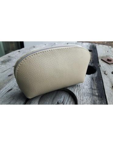 Kosmetiktasche Portemonnaie beige sand echtes Leder Made in Italy