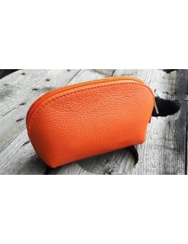 Kosmetiktasche Portemonnaie orange echtes Leder Made in Italy