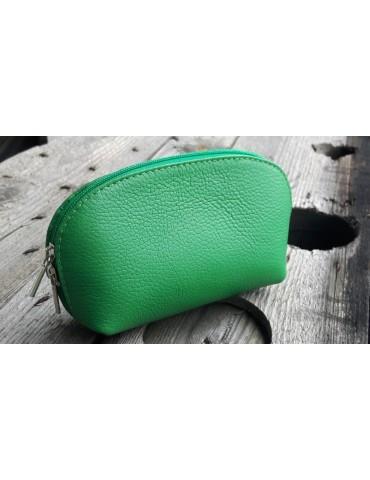 Kosmetiktasche Portemonnaie grasgrün grün echtes Leder Made in Italy
