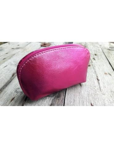 Kosmetiktasche Portemonnaie pink metallic echtes Leder Made in Italy