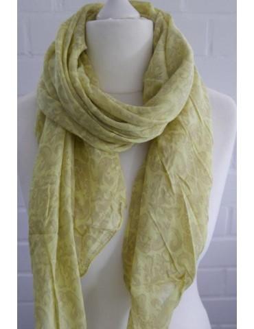 Schal Tuch Loop Made in Italy Seide Baumwolle gelb taupe Blumen Ranke