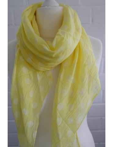 Schal Tuch Loop Made in Italy Seide Baumwolle gelb weiß Punkte