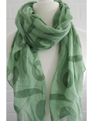 Schal Tuch Loop Made in Italy Seide Baumwolle grün dunkelgrün Muster