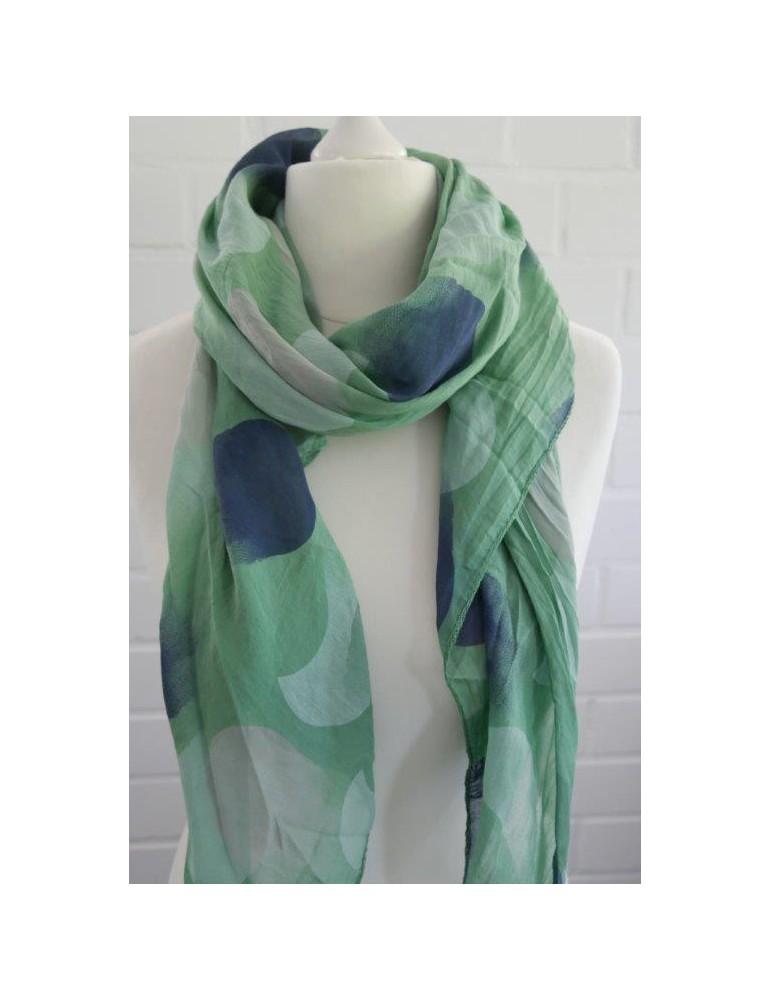 Schal Tuch Loop Made in Italy Seide Baumwolle grün blau rose weiß Riesen Punkte