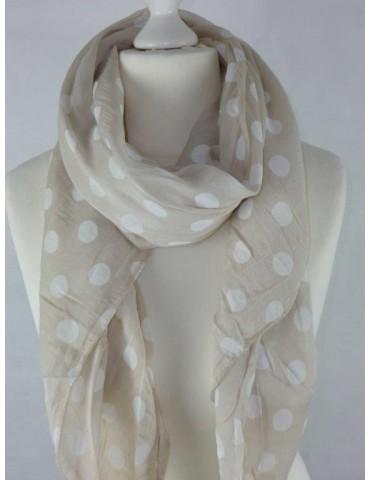 Schal Tuch Loop Made in Italy Seide Baumwolle beige weiß Punkte