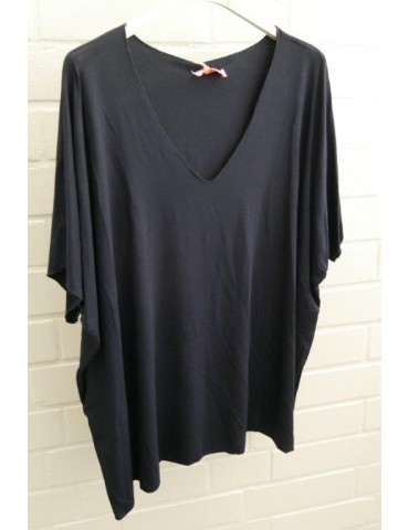 Damen Basic Shirt kurzarm dunkelblau uni mit Viskose Onesize ca. 38 - 46
