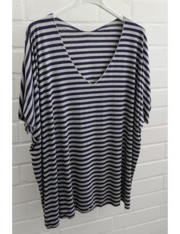 Damen Basic Shirt kurzarm grau dunkelblau Streifen mit Viskose Onesize ca. 38 - 46