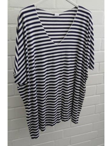 Damen Basic Shirt kurzarm weiß dunkelblau Streifen mit Viskose Onesize ca. 38 - 46