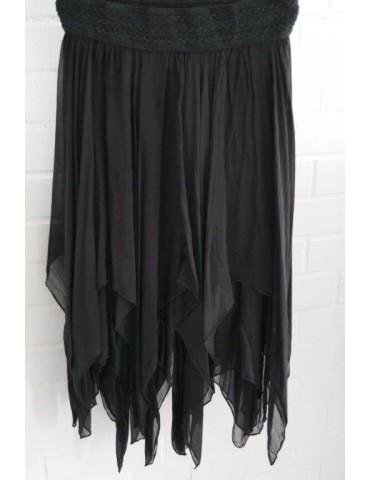Damen Zipfel Rock schwarz black Onesize ca. 36 38 Seide Viskose