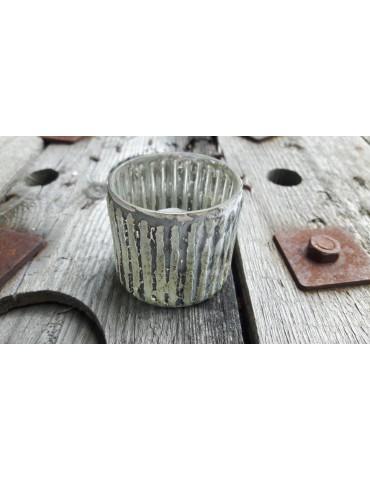 Teelicht Teelichtglas Kerze Glas Gold schwarz angelaufen Rillen