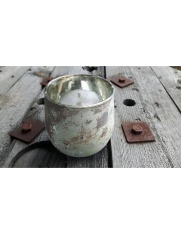 Teelicht Teelichtglas Kerze Glas beige braun angelaufen