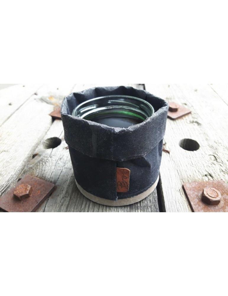 Bob Teelicht Teelichtglas Kerze Glas Papier Holz schwarz black