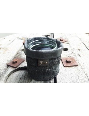 Bob Teelicht Teelichtglas Kerze Glas Gummi schwarz black