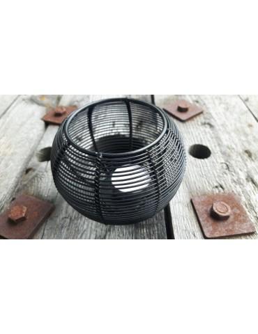 Teelicht Kerze Metall schwarz black Rund