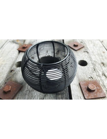 Teelicht Teelichtglas Kerze Metall schwarz black