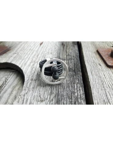 Giuno Ring Damenring Echtes Leder Metall schwarz silber Lava Steine Gr. 19