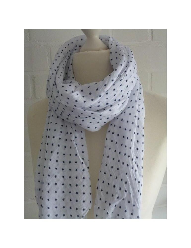 Schal Tuch Loop Made in Italy Seide Baumwolle weiß dunkelblau Mini Sterne