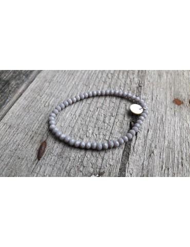 Armband Kristallarmband Perlen taupe grau klein Glitzer Schimmer elastisch