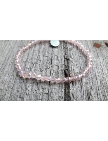 Armband Kristallarmband Perlen rose klar klein Glitzer Schimmer elastisch