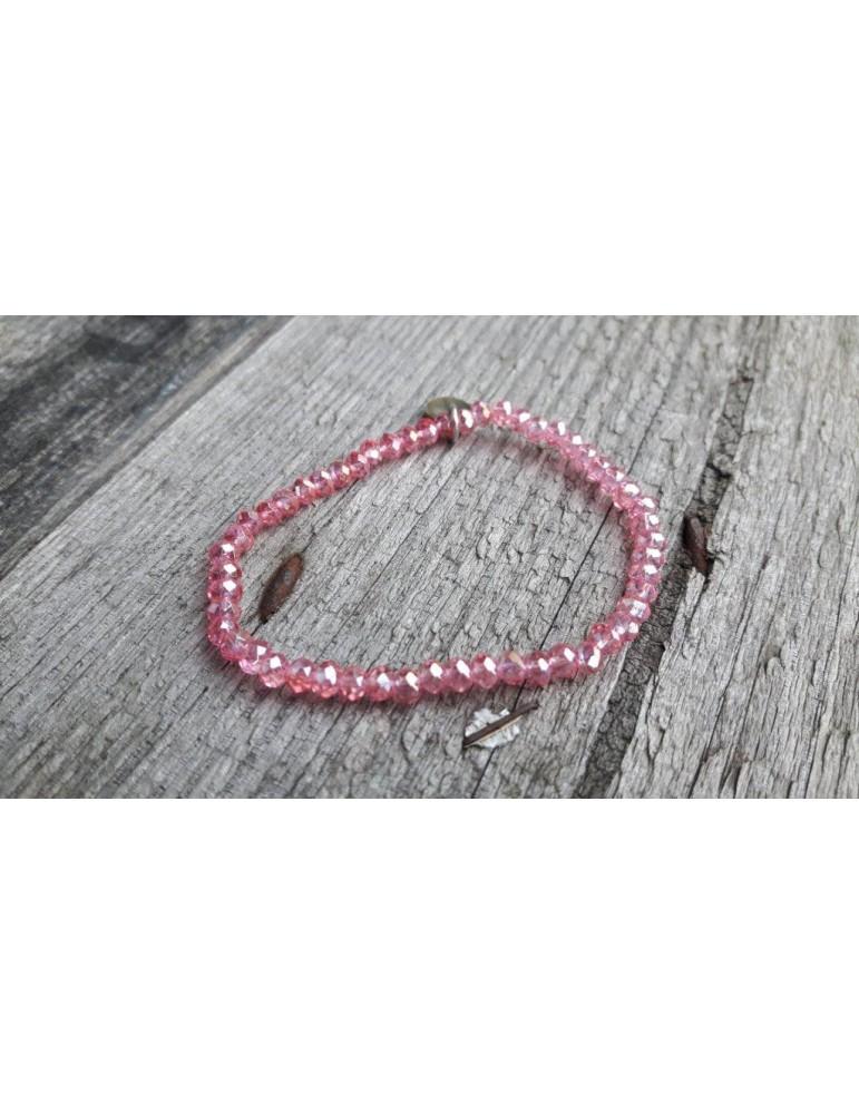 Armband Kristallarmband Perlen pink klar klein Glitzer Schimmer elastisch