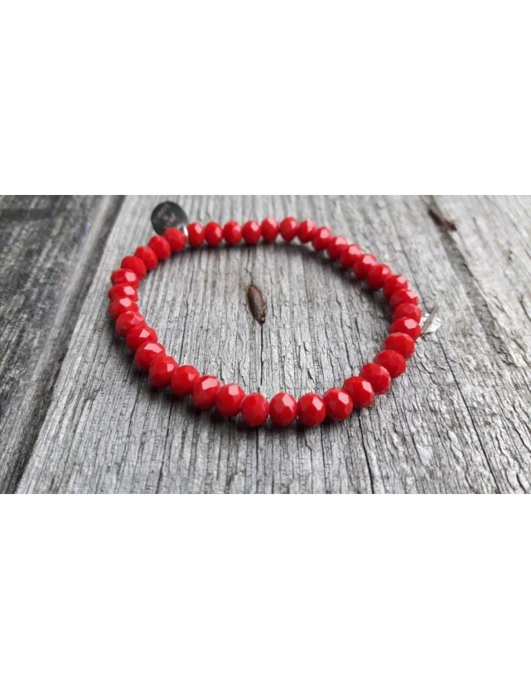 Armband Kristallarmband Perlen rot red groß Glitzer Schimmer elastisch