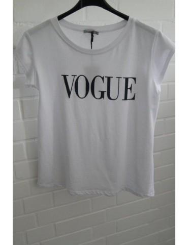 """Damen Shirt kurzarm weiß dunkelblau """"Vogue"""" mit Baumwolle"""