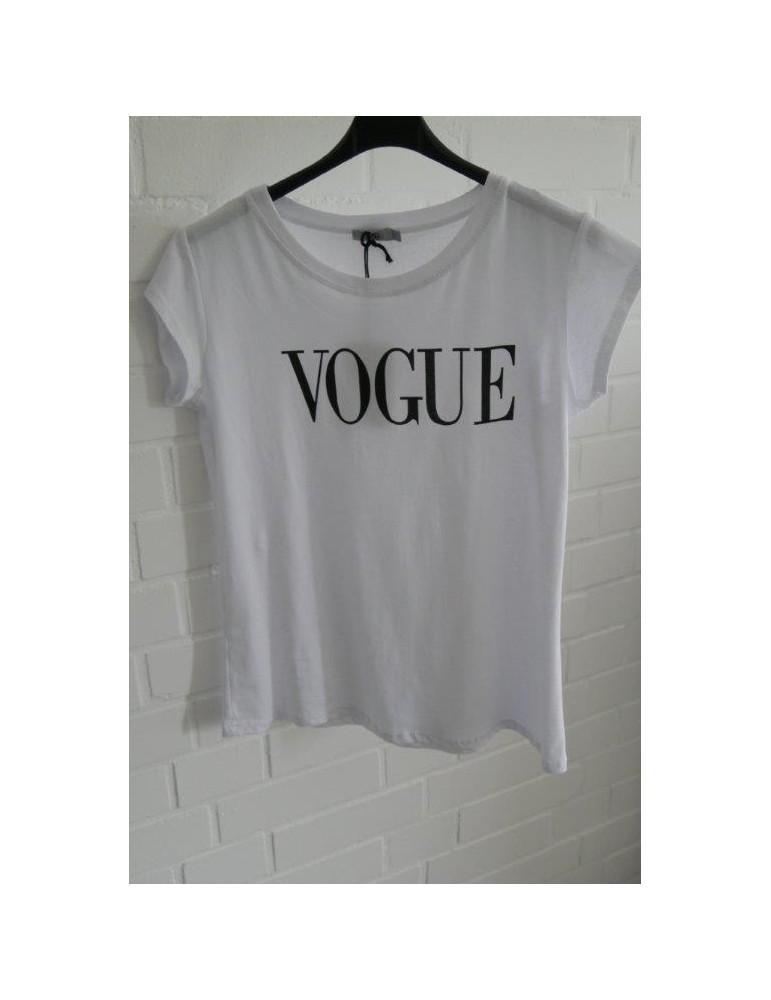 """Damen Shirt kurzarm weiß schwarz """"Vogue"""" mit Baumwolle"""