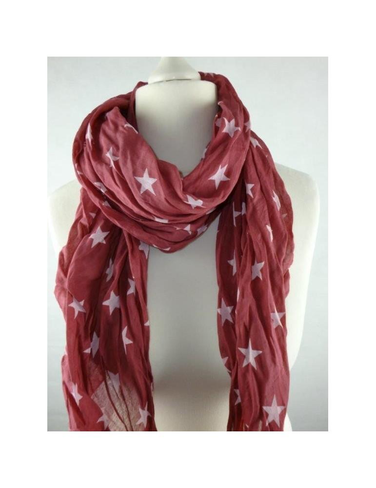 Schal Tuch Loop Made in Italy Seide Baumwolle weinrot weiß Sterne