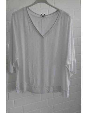 Damen Shirt Bluse 3/4 Ärmel weiß white Viskose Seide Onesize 38 - 46