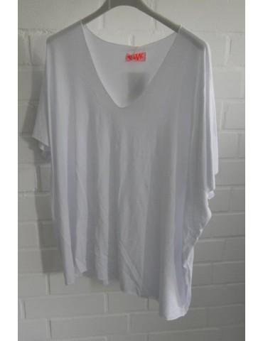Damen Basic Shirt kurzarm weiß white uni mit Viskose Onesize ca. 38 - 46
