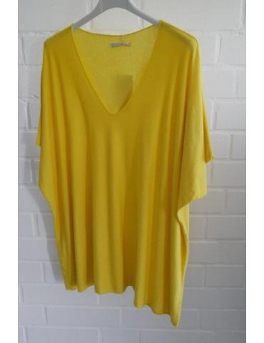 Damen Basic Shirt kurzarm gelb yellow uni mit Viskose Onesize ca. 38 - 46