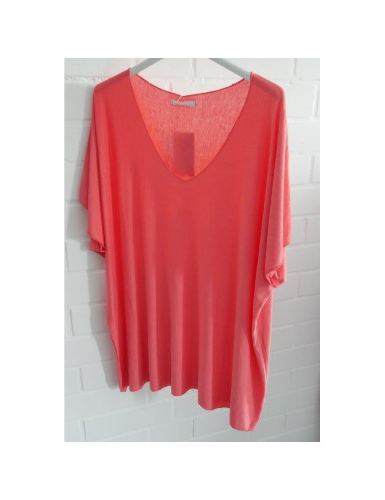 Damen Basic Shirt kurzarm koralle orange uni mit Viskose Onesize ca. 38 - 46