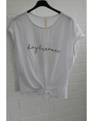 "Shirt T-Shirt kurzarm weiß schwarz ""day dreamer"" Baumwolle 38 - 44"