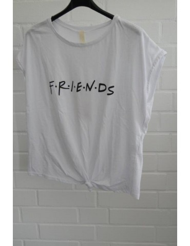 "Shirt T-Shirt kurzarm weiß schwarz ""friends"" Baumwolle 38 - 44"