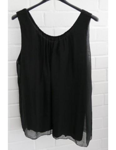 ESViViD Damen Top Shirt schwarz black Seide Viskose Onesize 36 - 44