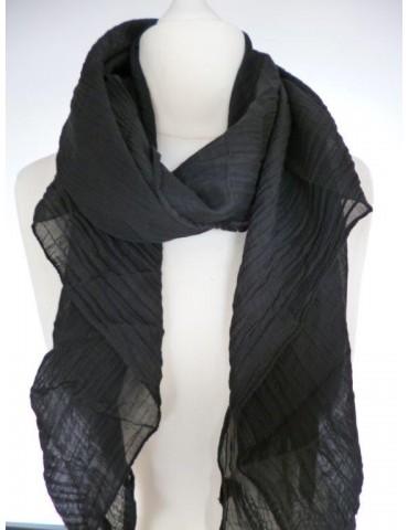 Schal Tuch Loop Made in Italy Seide Baumwolle schwarz uni